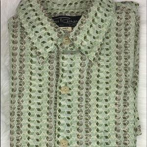 Tori Richard green design Hawaiian shirt small
